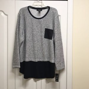 Style & Co grey and black long sleeves top